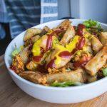 Healthy vegan burger bowl